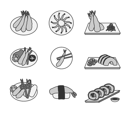 don: Tempura vector ( fried shrimp ) , 9 tempura icon set Illustration