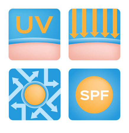 melanin: uv and icon sets spf vector, 6 orange uv set Illustration
