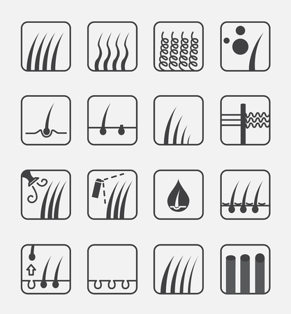 hair type icon and vector . hair conditioner and hair loss