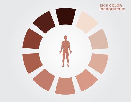 skin color index , infographic vector. dark to light skin Illustration