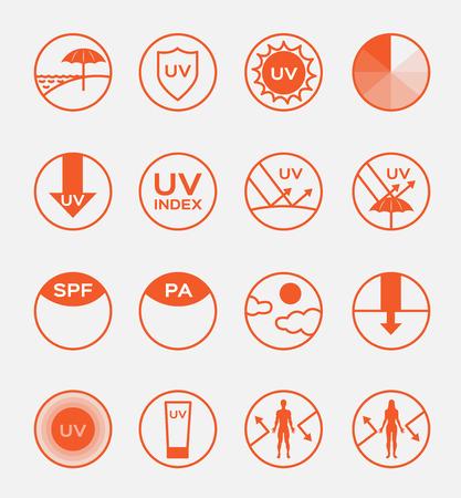 uv icoon sets spf vector, 16 uv set Vector Illustratie
