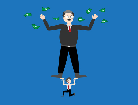 betrayal: business concept . boss get everything because of worker . bossiness man vector Illustration