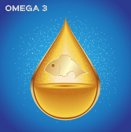 Omega 3 icon vector . gold omega 3 drop