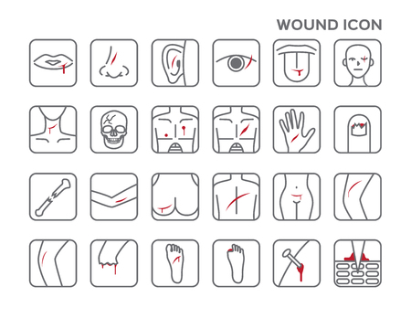pain scale: wound icon vector, bleeding on skin Illustration