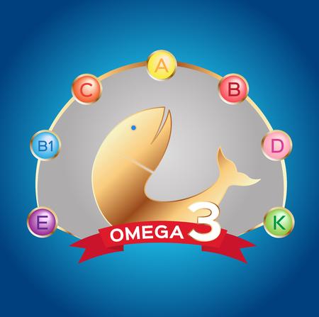 omega 3 icon and vector . and vitamin fish set