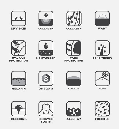 all skin icon vector . collagen , uv ,hair conditioner , moisturizer , wart , omega 3 , melanin , omega 3 , callus , acne , freckle , allergy , decayed tooth , bleeding , face protection , dry skin Ilustracja