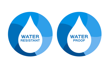 rainproof: Water resistant and proof, icon and vector . blue Water resistant and proof version Illustration