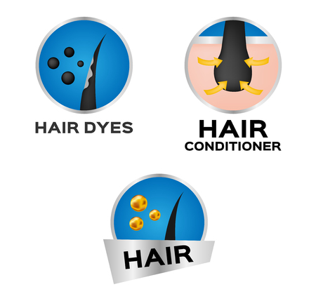 hair dyes and hair conditioner, icon and vector . anatomy