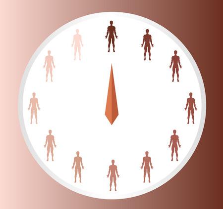 skin burns: skin color index , infographic vector . dark to light skin Illustration