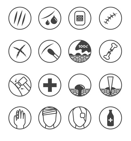 wound skin icon , logo and vector . 16 wounds version ( skin scratch , bleeding , cross , Bandages , hot water , needle , )