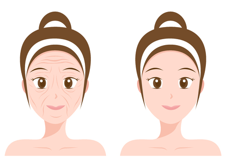 retouch: vector portrait, woman face, before and after aging, skin care ( collagen )
