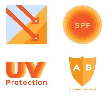 uva: uv protection and icon vector . orange uv color Illustration