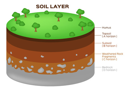 Earth structure soil layers and aquifer vector Çizim