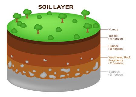 las capas del suelo y la estructura de la tierra del vector acuífero