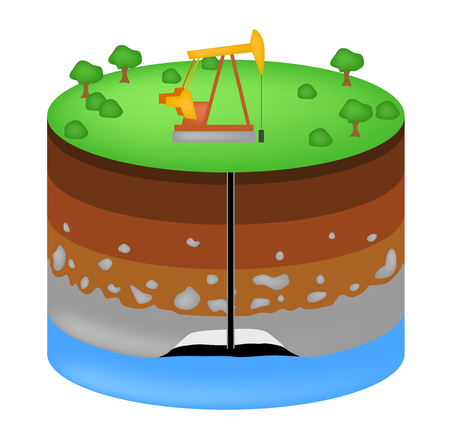 Oil extraction. Conventional drilling . Earth layers vector . earth structure Illustration