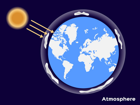 Earth atmosphere and uv from the sun Illustration