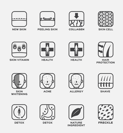 collagen , skin and hair icon vector . cell vitamin health whitening acne allergy shave detox nature ingredient freckle Illustration