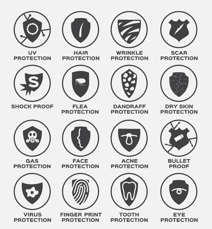 shield protection vector and icon . uv hair wrinkle scar shock proof flea dandruff dry skin gas face acne bullet virus finger print tooth eye Illusztráció