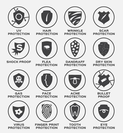 shield protection vector and icon . uv hair wrinkle scar shock proof flea dandruff dry skin gas face acne bullet virus finger print tooth eye Illustration