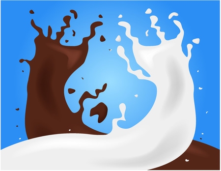vacas lecheras: 2 drink mixes together , milk and chocolate vector