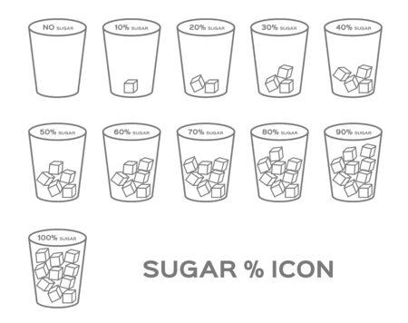 percent % of sugar vector icon Illustration