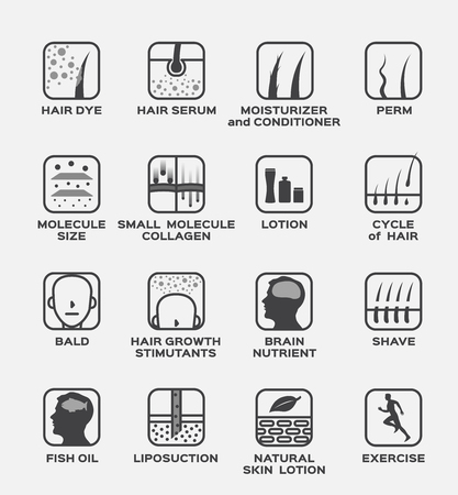 skin icon and vector . hair dye serum moisturizer conditioner perm molecule collagen lotion bald brain shave fish oil liposuction skin natural lotion exercise