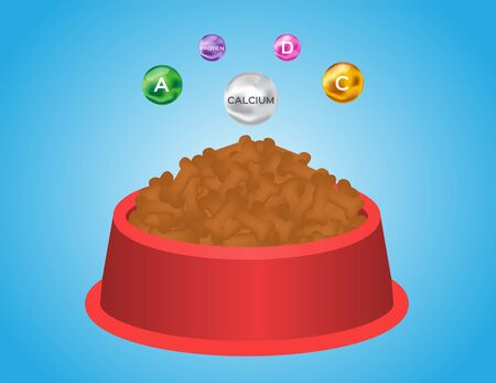 Dog food with bowl and vitamin vector Illustration
