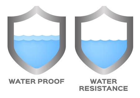 耐水性と証拠のロゴ、アイコン、ベクトル