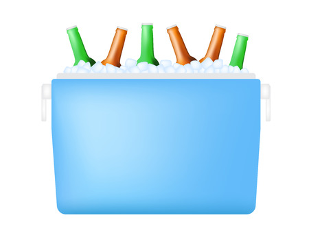 cooler with bottle and ice vector Illustration
