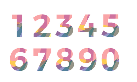 5.0: abstract colorful font number vector . alphabet Illustration
