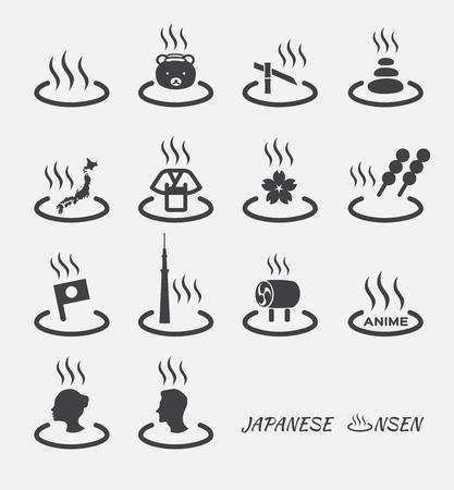 Ensemble de marques japonaises à chaud (onsen). Icône vectorielle