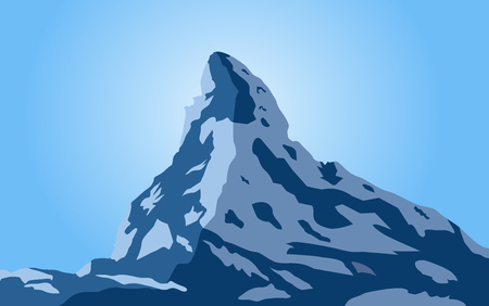 Scenic view on snowy Matterhorn peak in sunny day with blue sky , Switzerland vector Illustration