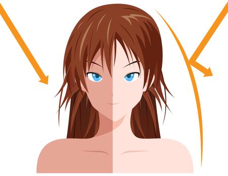melanin: uv and no uv protection on women skin Illustration