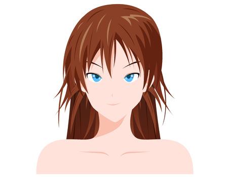 white skin women cartoon face vector Illustration