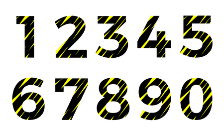 abstract black and yellow font number vector . alphabet