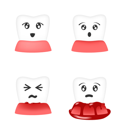 Gingivitis and blood on tooth vector Illustration