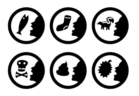 Mouth breath with bad smell. Isolated symbol. vector Vektorové ilustrace
