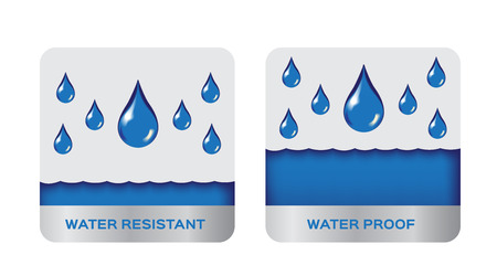 Water resistant and proof logo , icon vector . blue version
