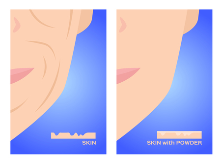 face powder apply on skin vector