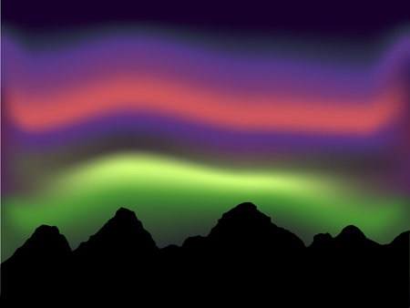 northern light and aurora with mountain vector