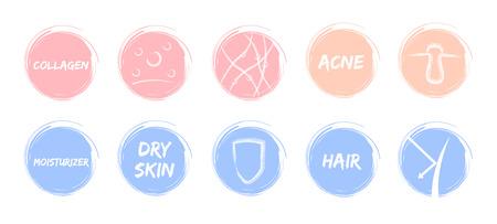 皮膚パステル アイコン ベクトルシールドにきび皮膚保湿剤髪コラーゲン保護  イラスト・ベクター素材