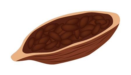 Vector de semillas de cacao y chocolate Foto de archivo - 81192672