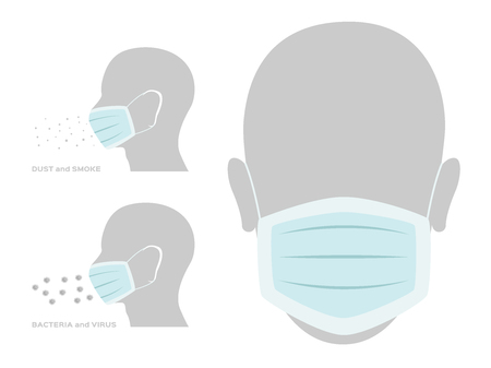 flu mask protect dust and virus infographic vector Stock Illustratie