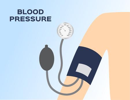 blood pressure meter on arm vector