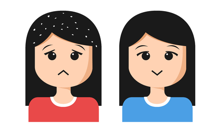 women cartoon with dandruff on hair