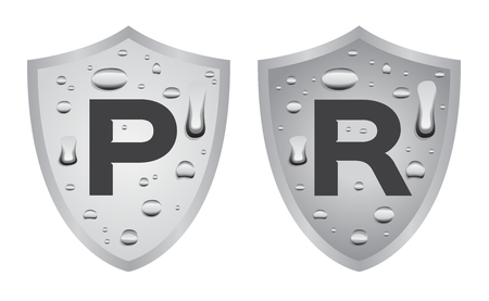 rainproof: Water resistant and proof logo , icon vector . blue version