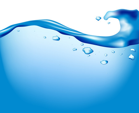 Water and aqua background with bubbles, vector illustration