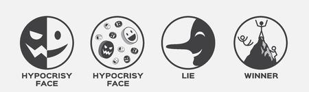 위선 얼굴, 거짓말 및 우승자 벡터 아이콘. 비즈니스 개념