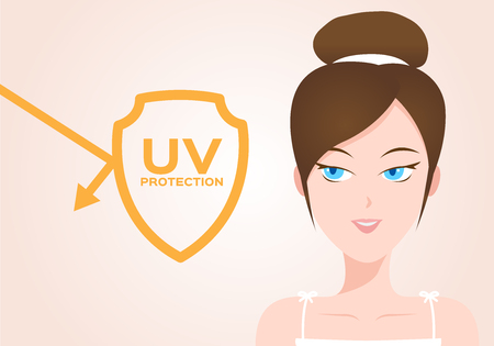 uv protection vector with women model . ultraviolet
