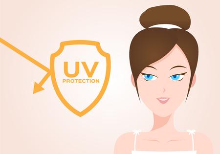 uv-beschermingsvector met vrouwenmodel. ultraviolet